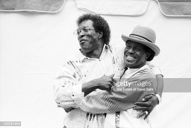 Blues musicians Buddy Guy and Junior Wells backstage in July 1989 at the Chicago Blues Festival Chicago Illinois