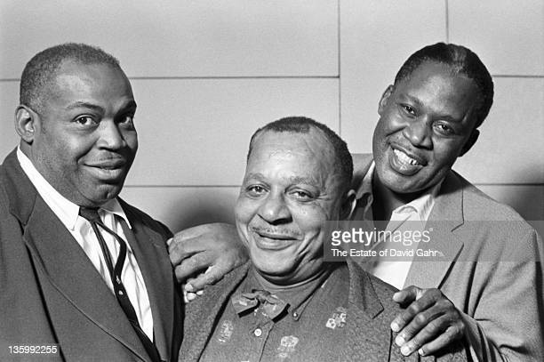 Blues musicians Willie Dixon Big Joe Williams and Memphis Slim in the studios of Folkways Records in 1961 in New York City New York