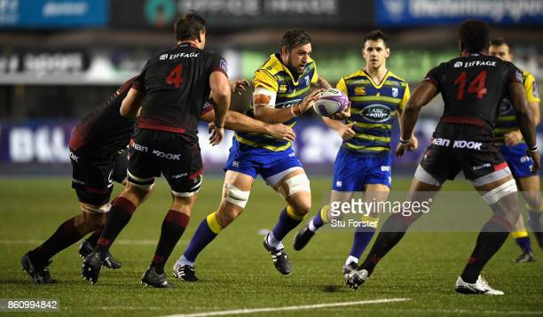 Blues number 8 Josh Turnbull makes a break during the European Rugby Challenge CUP Match between Cardiff Blues and Lyon at Cardiff Arms Park on...