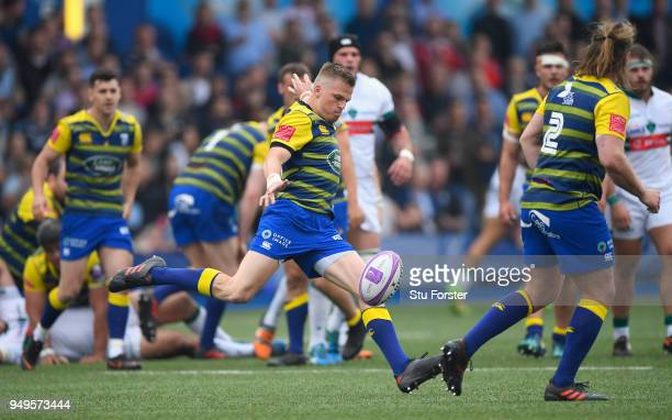 Blues player Gareth Anscombe in action during the European Challenge Cup SemiFinal match between Cardiff Blues and Section Paloise at Cardiff Arms...