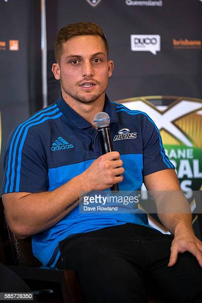 Blues player Ihaia West speaks to the media during the Rugby 10's Launch at Spencer on Byron Hotel on August 4 2016 in Auckland New Zealand The event...