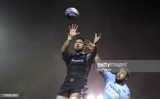 Blues player Josh Turnball and Darren Barry of the Falcons compete for the ball at a lineout during the European Rugby Challenge Cup match between...