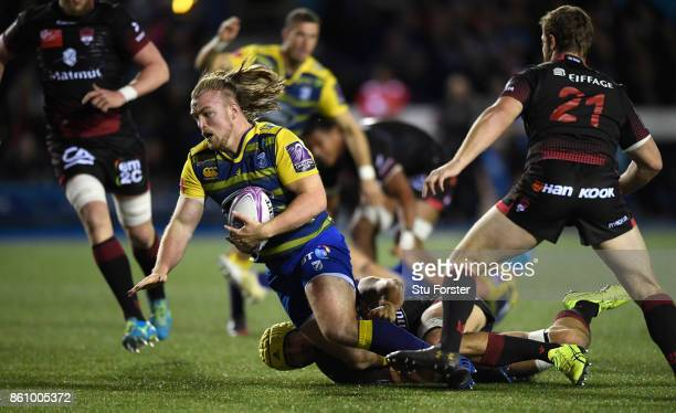 Blues player Kristian Dacey in action during the European Rugby Challenge CUP Match between Cardiff Blues and Lyon at Cardiff Arms Park on October 13...