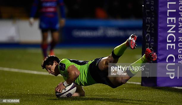 Blues player Lloyd Williams crosses for a try during the European Rugby Challenge Cup match between Cardiff Blues and Rugby Rovigo at Cardiff Arms...