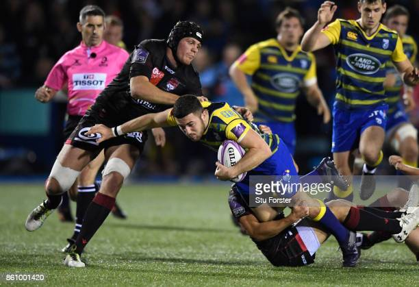 Blues player Steven Shingler makes a break during the European Rugby Challenge CUP Match between Cardiff Blues and Lyon at Cardiff Arms Park on...