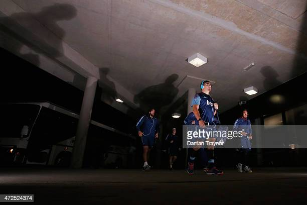 Blues playerds arrive before the round 13 Super Rugby match between the Rebels and the Blues at AAMI Park on May 8 2015 in Melbourne Australia