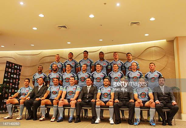 Blues players and coaches take part in the New South Wales Blues State of Origin team photo at Crown Plaza Coogee on June 26 2012 in Sydney Australia