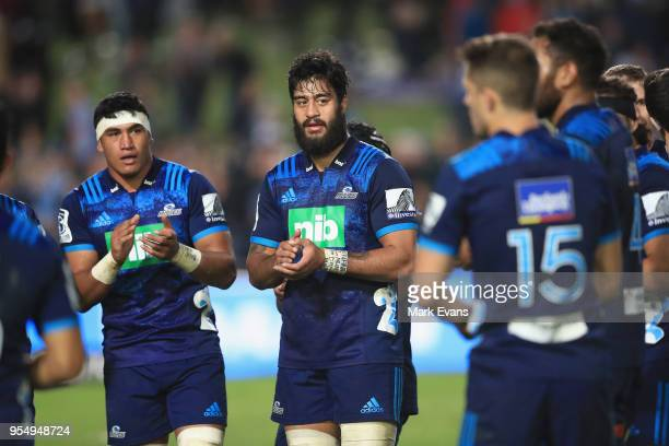 Blues players celebrate their win during the round 12 Super Rugby match between the Waratahs and the Blues at Lottoland on May 5 2018 in Sydney...