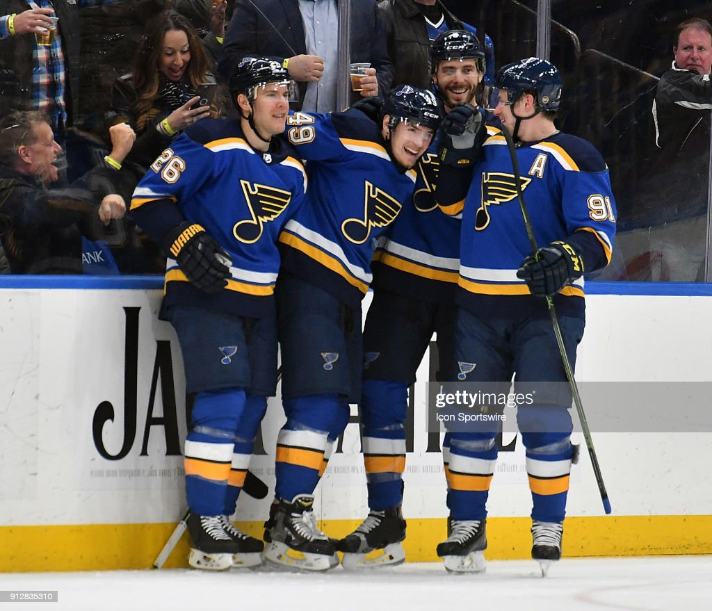 Blues Players Celebrate With St Louis Center Ivan Barbashev 49 After His
