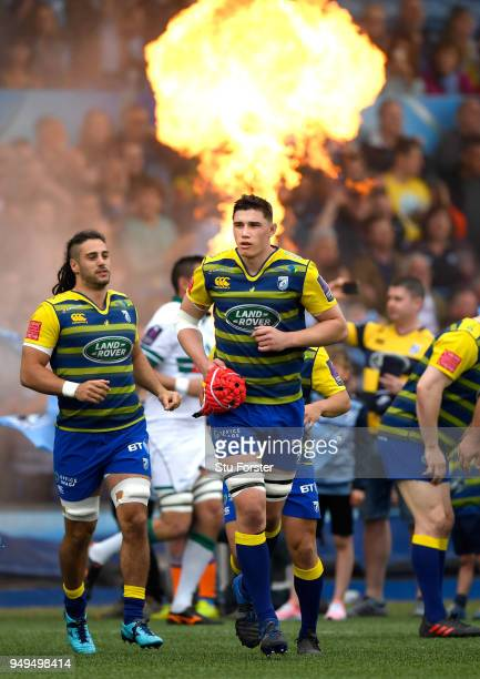 Blues players Josh Navidi and Seb Davies enter the field before the European Challenge Cup SemiFinal match between Cardiff Blues and Section Paloise...