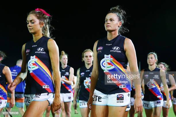 Blues players look dejected after defeat during the round four AFLW match between the Western Bulldogs and the Carlton Blues at Whitten Oval on...
