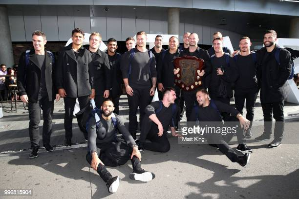 Blues players pose during a New South Wales Blues public reception after winning the 2018 State of Origin series at The Star on July 12 2018 in...