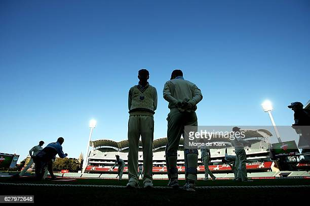 Blues players prepare to take the field for the last session during day two of the Sheffield Shield match between South Australia and New South Wales...