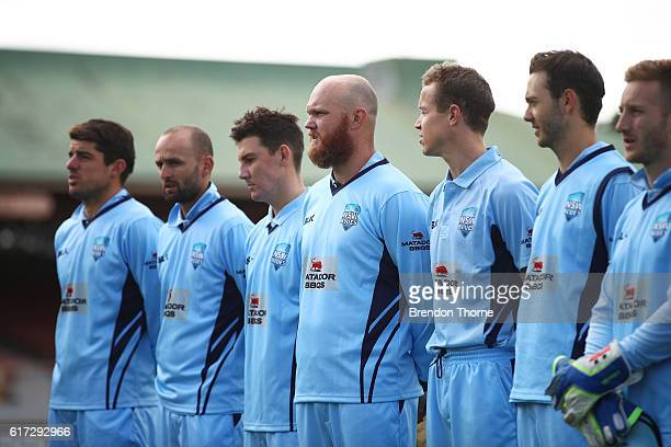 Blues players stand during the Australian National Anthem prior to the Matador BBQs One Day Cup Final match between Queensland and New South Wales at...