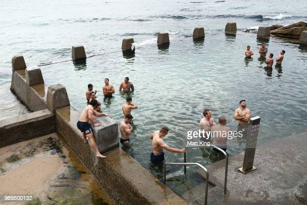 Blues players swim during a New South Wales Blues State of Origin Recovery Session at Coogee Beach on July 2 2018 in Sydney Australia