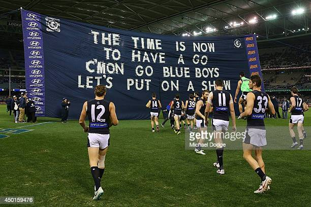 Blues players walk out with white shorts on when it should have been blue during the round 12 AFL match between the Geelong Cats and the Carlton...