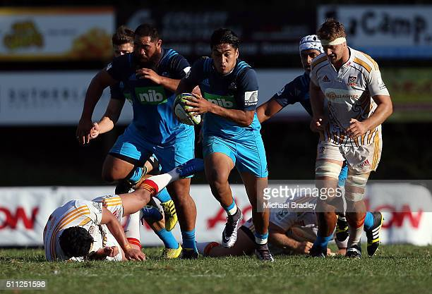 Blues Reiko Iaone makes a break to set up the last try for the Blues during the Super Rugby preseason match between the Blues and the Chiefs at...