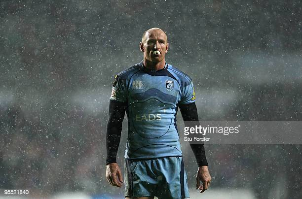 Blues replacement Gareth Thomas looks on during the Magners League match between Ospreys and Cardiff Blues at the Liberty Stadium on January 1 2010...