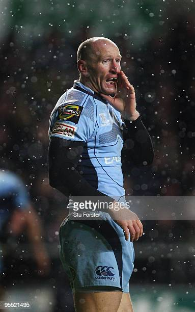 Blues replacement Gareth Thomas makes a call during the Magners League match between Ospreys and Cardiff Blues at the Liberty Stadium on January 1...