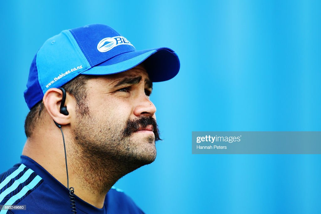 Blues Scrum coach Ben Afeaki looks on during an Auckland Blues Super Rugby pre season training session ahead of the 2018 Investec Super Rugby Championship at Alexandra Park on December 1, 2017 in Auckland, New Zealand.