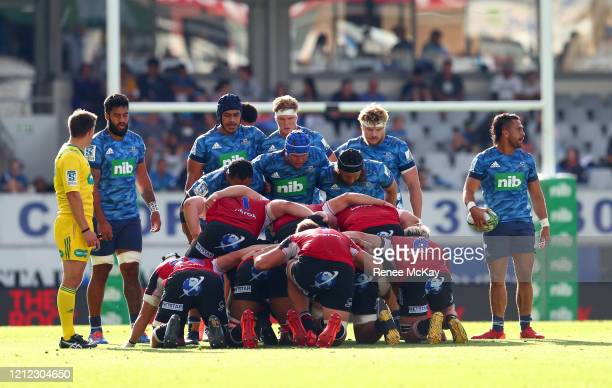 Blues scrum during the round seven Super Rugby match between the Blues and the Lions at Eden Park on March 14, 2020 in Auckland, New Zealand.