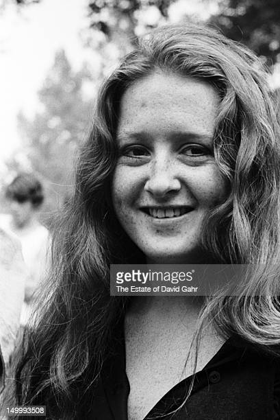Blues singer and guitarist Bonnie Raitt poses for a portrait backstage at the Philadelphia Folk Festival at Old Pool Farm in July 1970 in Upper...