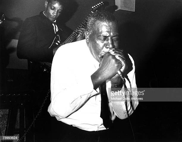 Blues singer and harmonica player Howlin' Wolf performs live on stage in Detroit, Michigan circa 1965. Guitarist Hubert Sumlin plays behind.
