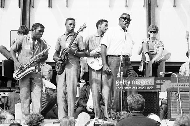 Blues singer and musician Howling Wolf and his blues band perform in July, 1966 at the Newport Folk Festival in Newport, Rhode Island.