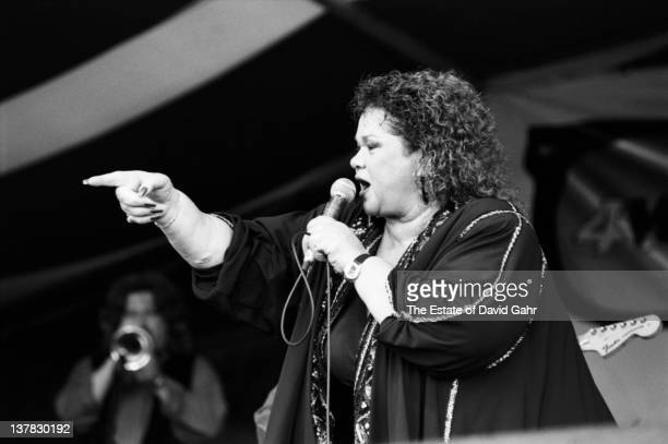Blues singer Etta James performs at the New Orleans Jazz and Heritage Festival in April 1994 in New Orleans Louisiana