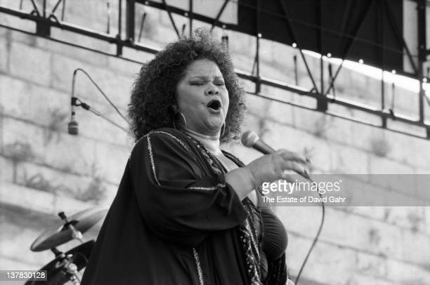 Blues singer Etta James performs at the Newport Jazz Festival in August 1991 in Newport Rhode Island