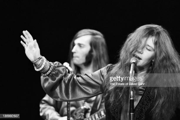 Blues singer Janis Joplin and guitarist Sam Andrew of the Kozmic Blues Band perform on the Ed Sullivan Show on March 16 1969 in New York City New York