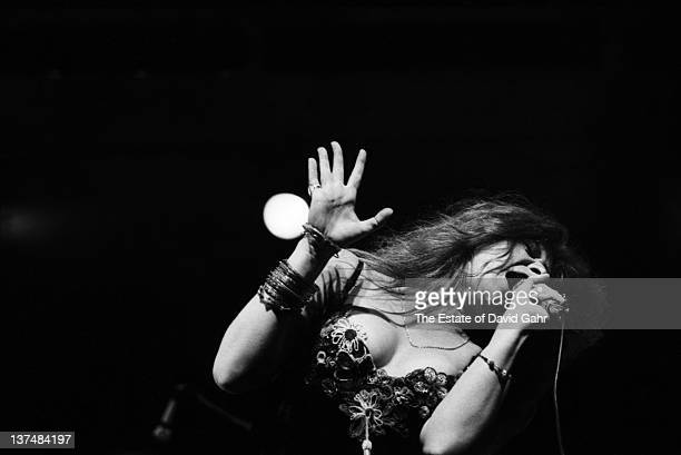 Blues singer Janis Joplin performs at the Newport Folk Festival in July 1968 in Newport Rhode Island