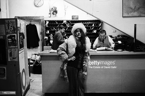 Blues singer Janis Joplin poses for a portrait on March 3 1969 in the lobby of the Chelsea Hotel in New York City New York