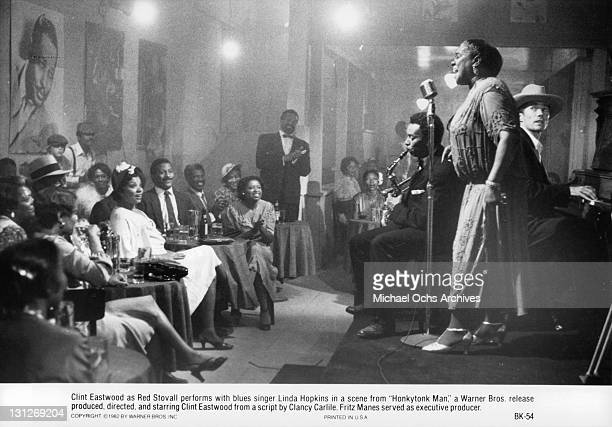 Blues singer Linda Hopkins and Clint Eastwood perform in a scene from the film 'Honkytonk Man' 1982