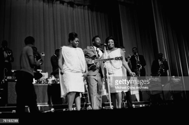 """Blues singer/guitarist B.B. King , the """"King of the Blues,"""" performs with his beloved guitar """"Lucille"""" circa mid 1964 at the Apollo Theater in..."""