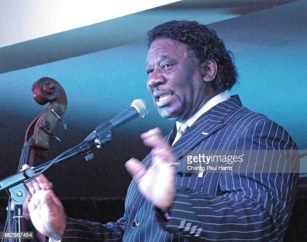 Blues songwriter and singer Mud Morganfield performs on JANUARY 5, 2016 at the Southern Pavilion, Worthing Pier, Worthing, West Sussex, England.