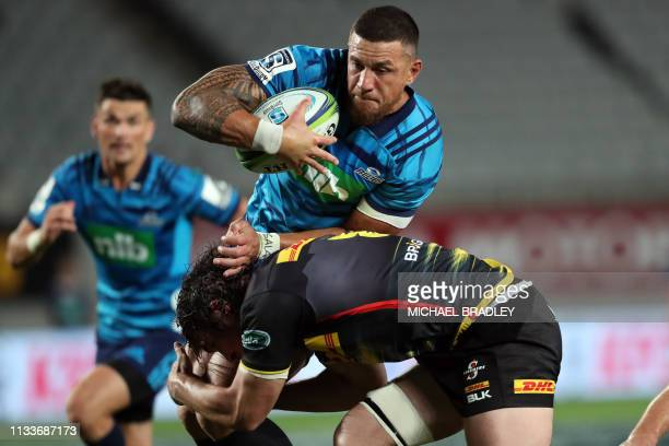 Blues' Sonny Bill Williams is tackled during the Super Rugby match between New Zealand's Blues and South Africa's Stormers at Eden Park in Auckland...