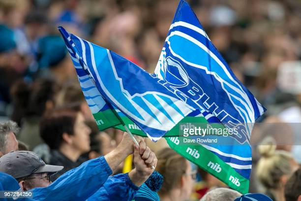 Blues supporter during the round 12 Super Rugby match between the Blues and the Hurricanes at Eden Park on May 11 2018 in Auckland New Zealand