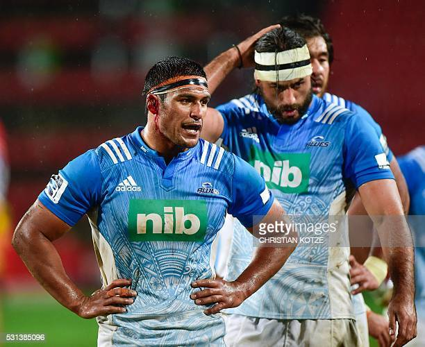 Blues' Tanerau Latimer is injured during the Super Rugby match between the Golden Lions and the Auckland Blues at the Ellis Park rugby stadium on May...