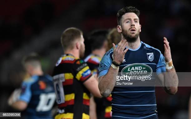 Blues wing Alex Cuthbert reacts after another Gloucester try during the European Rugby Challenge Cup match between Gloucester Rugby and Cardiff Blues...