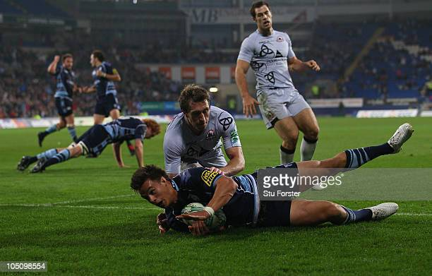 Blues wing Chris Czekaj dives over to score during the Heineken Cup Pool One match between Cardiff Blues and Edinburgh at Cardiff City Stadium on...