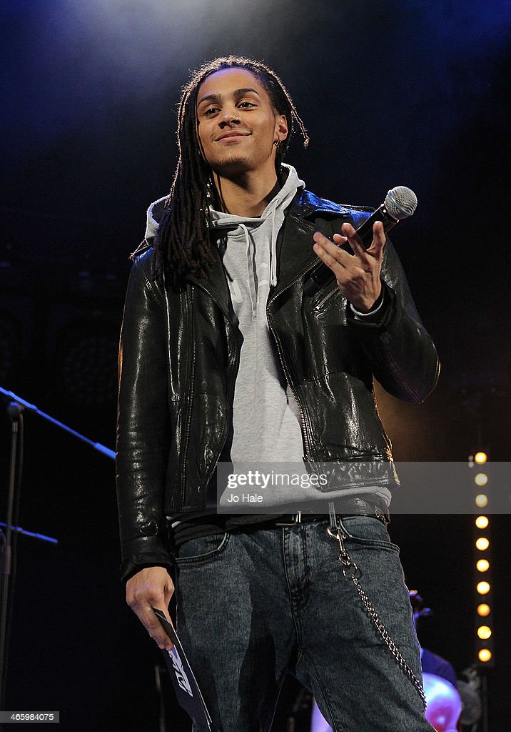 Bluey Robinson MTV Presenter on stage for MTV Brand New For 2014 Showcase at Islington Assembly Hall on January 30, 2014 in London, United Kingdom.