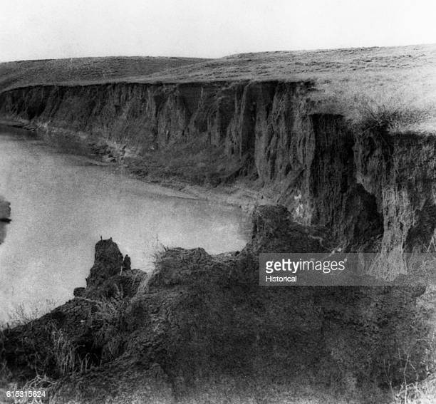 Bluff on the Little Big Horn where some of Custer's men were driven to a watery grave during the massacre of Custer's command at Little Big Horn