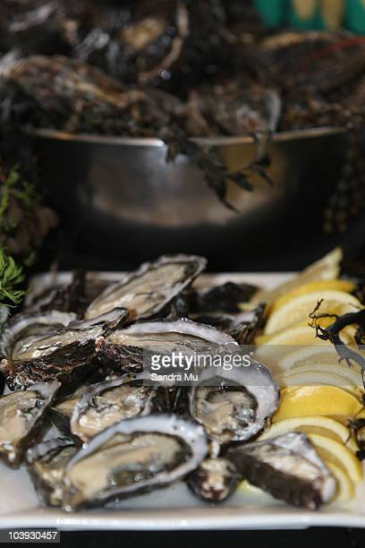 Bluff oysters are displayed for tasting during the RWC 2011 One Year To Go celebrations at Eden Park on September 9 2010 in Auckland New Zealand
