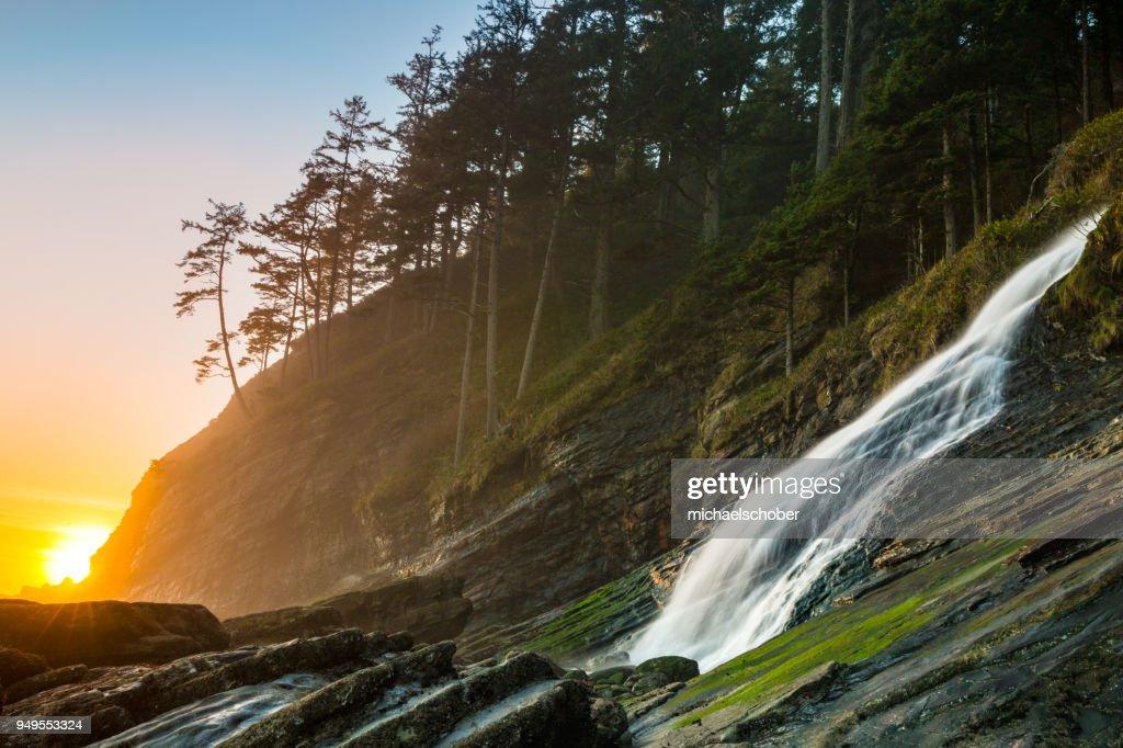 Blumenthal Falls sunset at Short Sands Beach, Oregon : Stock Photo