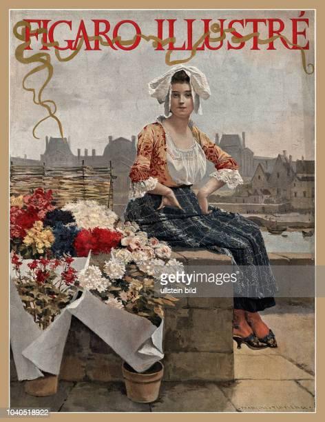 Blumenverkäuferin an der Seine vor Stadtsilhouette