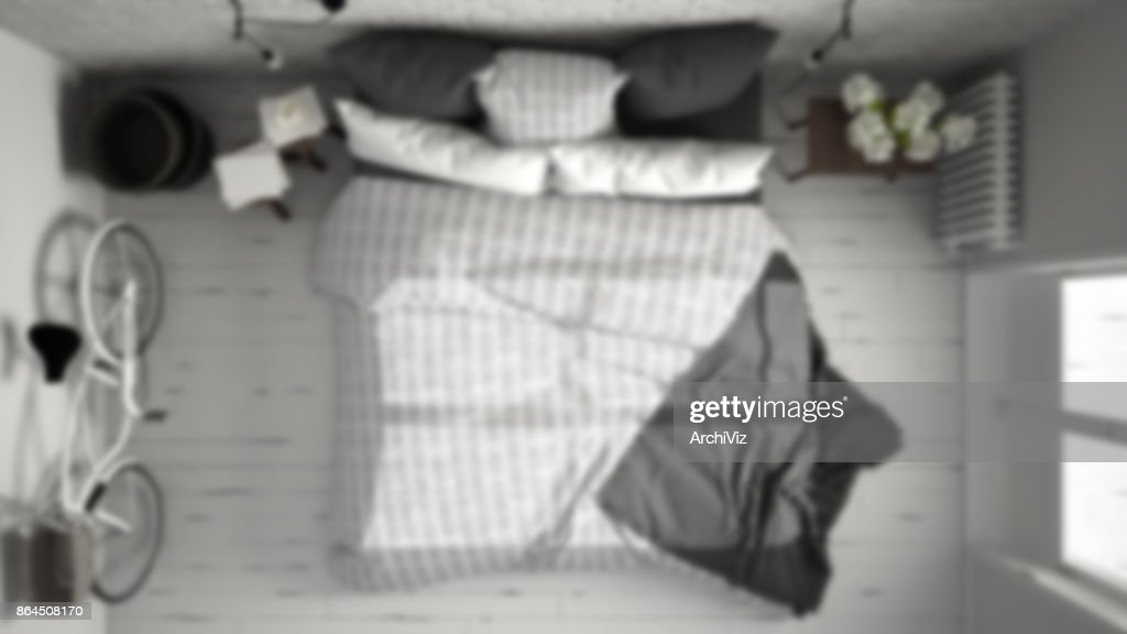 Vervagen de achtergrond interieur white en gray moderne slaapkamer