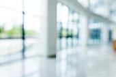 Blur background of empty lobby in hospital