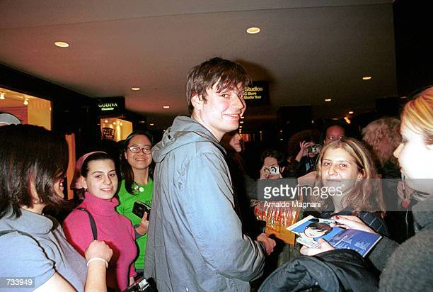 Blur band member Alex James is greeted by fans as he leaves the Conan O''Brien Show November 10 2000 in New York City Blur's new album called ''Best...