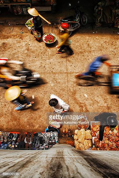 blur image of people walking on footpath - ho chi minh city stock pictures, royalty-free photos & images